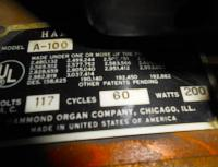 Hammond A 100 - identity card