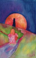 """Pier Paderni - *(Kabul 1973) """"Moongirl"""" 38x24cm, Andromeda Files"""
